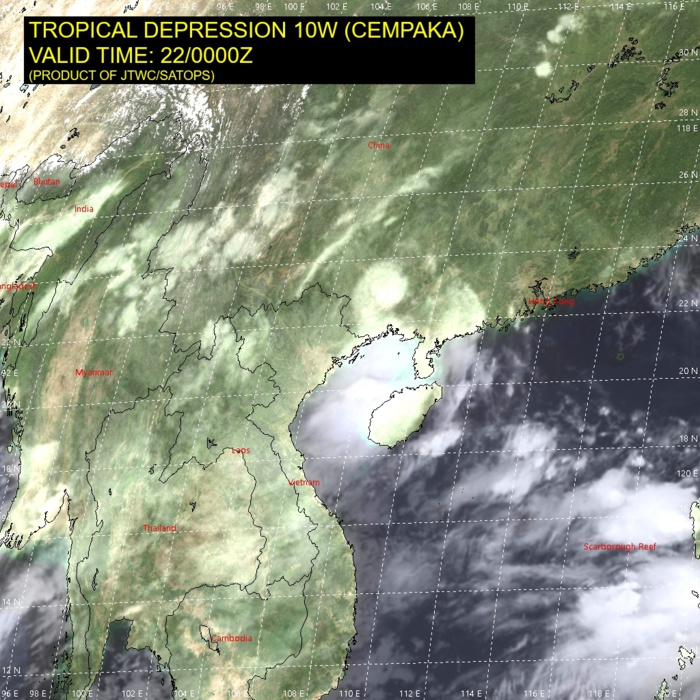 10W(CEMPAKA).SATELLITE ANALYSIS, INITIAL POSITION AND INTENSITY DISCUSSION: ANIMATED MULTISPECTRAL SATELLITE IMAGERY (MSI) DEPICTS DECREASING CONVECTION AND ORGANIZATION OVER TD 10W. THE MAJORITY OF DEEP CONVECTION IS FORMING ALONG THE IMMEDIATE COASTLINE DUE TO ON-SHORE FLOW. SURFACE REPORTS AND RADAR ANIMATION INDICATE THE VORTEX REMAINS INTACT AND HAS TURNED BACK TOWARDS THE COAST.