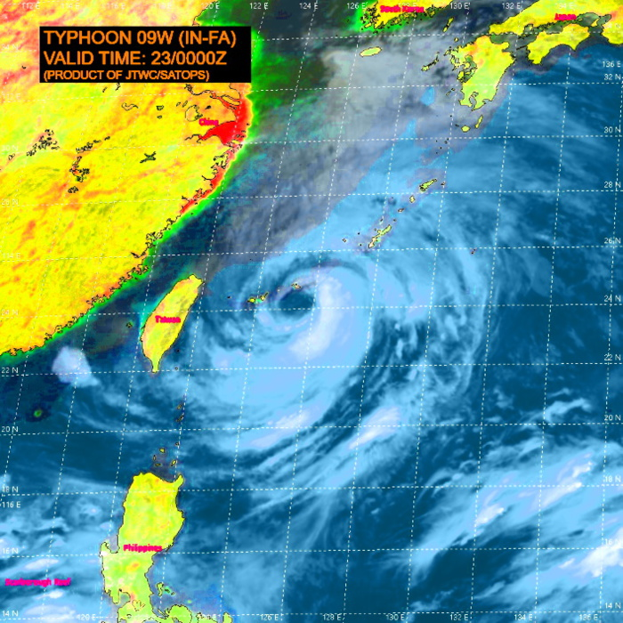 09W(IN-FA).SATELLITE ANALYSIS, INITIAL POSITION AND INTENSITY DISCUSSION: ANIMATED MULTISPECTRAL SATELLITE IMAGERY (MSI) AND A 222236UTC SSMIS SERIES SHOWS THE EYE OF TY 09W WEAKENING OVER THE POLEWARD SEMICIRCLE. ANIMATED WATER VAPOR IMAGERY SHOWS INCREASING PRESSURE ON THE OUTFLOW OVER THE NORTHWESTERN QUADRANT. THE HWRF-P COUPLED MODEL SHOWS INCREASING COOLING OF THE SEA SURFACE AROUND THE CORE DUE TO THE CHURNING CAUSED BY THE RELATIVELY SLOW MOVEMENT OF THE  SYSTEM. THE UPWELLING, SUPPRESSED OUTFLOW, AND DISSIPATION OF ENERGY  INDICATED BY THE EXPANSIVE EYE SEEM TO BE ACTING AS BRAKING MECHANISMS ON THE INTENSITY OF THE SYSTEM. THE CURRENT INTENSITY ASSESSMENT IS BASED ON MULTIPLE AGENCY DVORAK ESTIMATES AND AN ADT EVALUATION OF 74KNOTS. TY 09W IS UNDERWAY ON ITS NORTHWESTERLY LEG  THROUGH 48H AND IS STEERING ALONG THE SOUTHWESTERN PERIPHERY OF A  DEEP LAYER RIDGE.