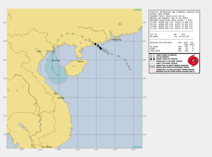 TD 10W(CEMPAKA). WARNING 19 ISSUED AT 23/03UTC.THERE ARE NO SIGNIFICANT CHANGES TO THE FORECAST FROM THE PREVIOUS WARNING.  FORECAST DISCUSSION: TD 10W IS NOT EXPECTED TO REGENERATE TO TROPICAL STORM STATUS DUE TO HIGH VERTICAL WIND SHEAR OVER THE GULF OF TONKIN. THE WARM WATERS OF THE GULF OF TONKIN WILL SUSTAIN THE VORTEX THROUGH TAU 24 BUT EVENTUALLY THE WINDSHEAR WILL OVERCOME THE SYSTEM.