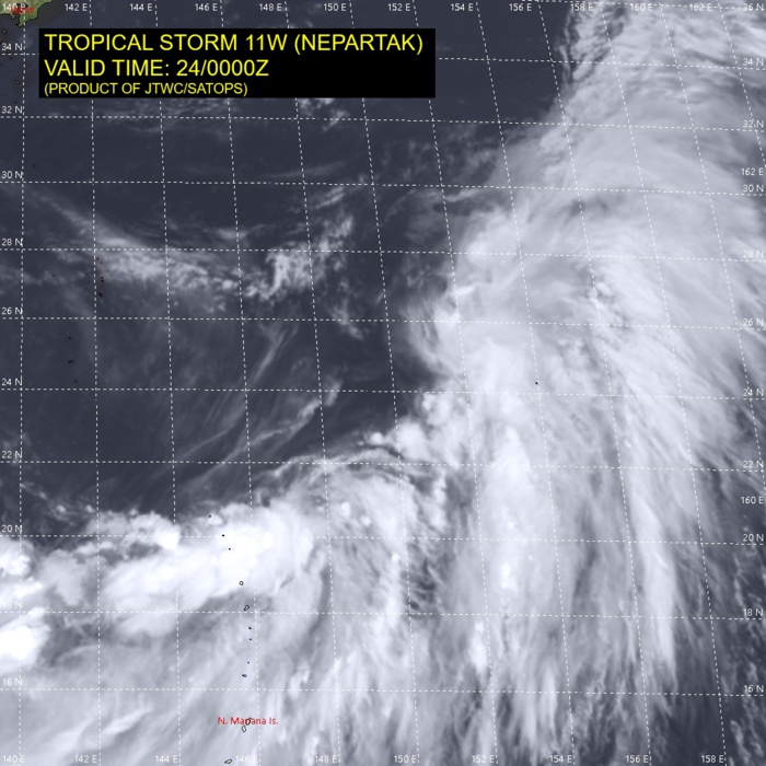 11W(NEPARTAK).SATELLITE ANALYSIS, INITIAL POSITION AND INTENSITY DISCUSSION: ANIMATED MULTISPECTRAL SATELLITE IMAGERY (MSI) SHOWS THAT THE LOW LEVEL CIRCULATION CENTER (LLCC) OF TROPICAL STORM NEPARTAK IS FULLY EXPOSED AND BREAKING AWAY FROM THE BAND OF DEEP CONVECTION AT THE BASE OF THE MONSOON GYRE. VIGOROUS WESTERLIES ALOFT ARE SHEARING THE CLOUD BAND TO THE EAST OF THE VORTEX. THE SATELLITE IMAGERY, AMSU RADIAL HEIGHT AND CROSS SECTION ANALYSIS, AND STRETCHED 850 MB VORTICITY PATTERN ARE INDICATIVE OF A SUB-TROPICAL SYSTEM. THE CURRENT INTENSITY IS BASED ON A JTWC DVORAK ESTIMATE OF T2.5 USING THE SUB-TROPICAL TECHNIQUE AND SUPPORTED BY AN ADT ESTIMATE.