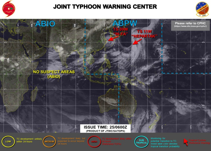 JTWC HAS BEEN ISSUING 6HOURLY WARNINGS AND 3HOURLY SATELLITE BULLETINS ON 09W AND 11W. SATELLITE BULLETINS WERE DISCONTINUED FOR 10W AT 24/15UTC.