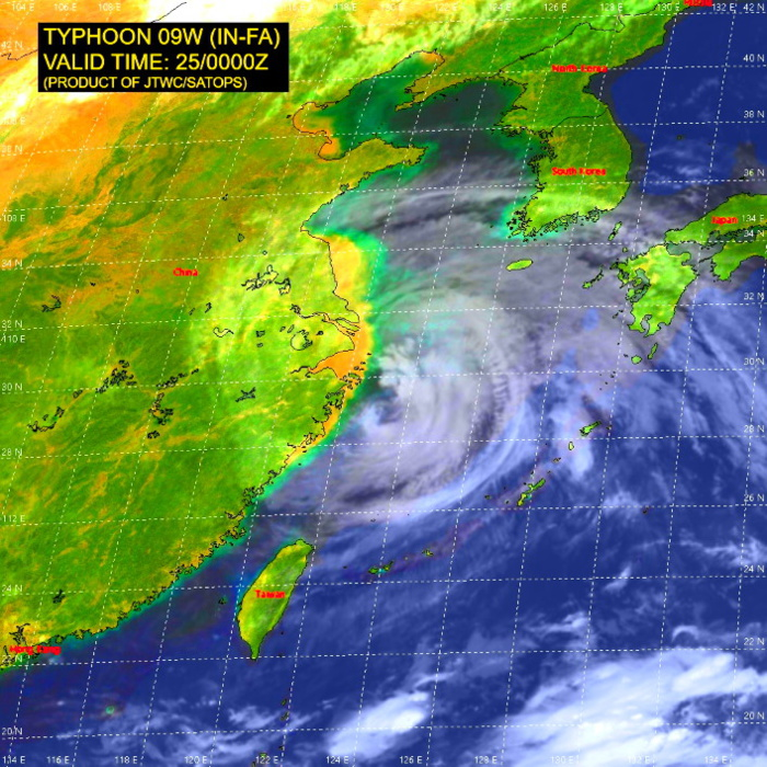 09W(IN-FA).SATELLITE ANALYSIS, INITIAL POSITION AND INTENSITY DISCUSSION: ANIMATED MULTISPECTRAL SATELLITE IMAGERY (MSI) SHOWS FEEDER BAND CONVECTIVE TOPS CONTINUED TO WARM UP AND UNRAVEL; HOWEVER THE CENTRAL DENSE OVERCAST FEATURE REMAINS INTACT AND MAINTAINED A LARGE 75KM RAGGED EYE. THE INITIAL INTENSITY IS PLACED WITH HIGH CONFIDENCE BASED ON THE EYE THAT WAS COINCIDED WITH AN LOW LEVEL CENTER FEATURE IN A CMA COMPOSITE RADAR LOOP. THE INITIAL INTENSITY OF 65KNOTS/CAT 1 IS ASSESSED WITH HIGH CONFIDENCE BASED ON OVERALL ASSESSMENT OF AGENCY AND AUTOMATED DVORAK FIXES TO REFLECT THE DETERIORATING CONVECTIVE STAGE BUT MAINTAINED THE TYPHOON INTENSITY.