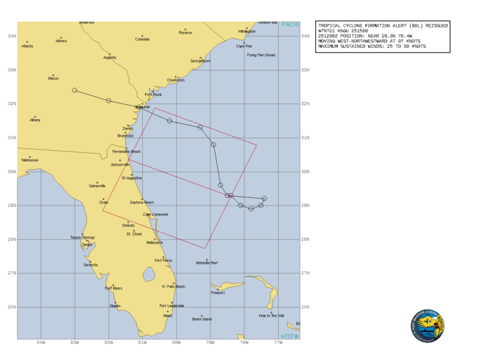 ATLANTIC. INVEST 90L. TROPICAL CYCLONE FORMATION ALERT RE-ISSUED AT 25/15UTC.