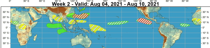 A favorable environment for additional tropical cyclone development is forecast to persist into Week-2, prompting a moderate confidence hazard on the outlook. No tropical cyclones are anticipated to form across the Main Development Region of the Atlantic during the outlook period, though conditions are anticipated to become slightly more favorable towards the end of Week-2, with dynamical models showing a disturbance emerging off the coast of Africa. Should the MJO or additional Kelvin waves cross the Western Hemisphere during Week-2, conditions may become more favorable for development during the Week-34 time frame. NOAA.
