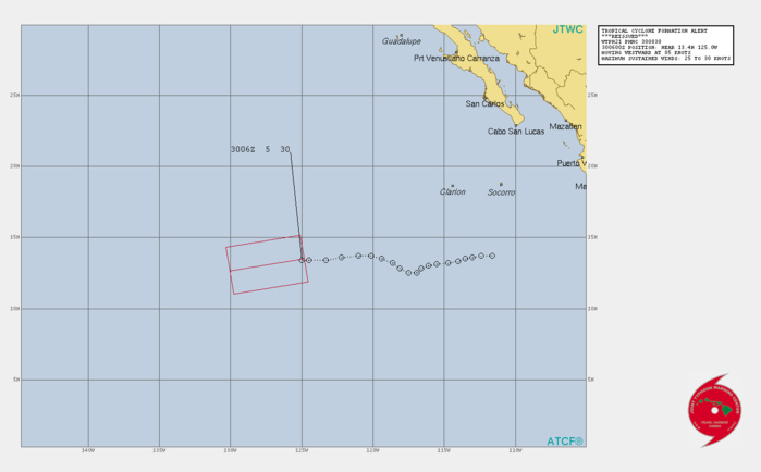 EASTERN PACIFIC. INVEST 99E. TROPICAL CYCLONE FORMATION ALERT ISSUED AT 30/0830UTC.