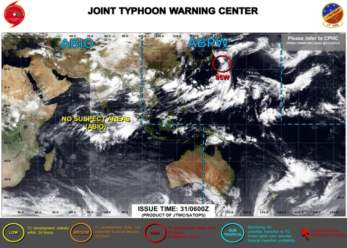 INVEST 95W WAS UP-GRADED TO HIGH AT 30/14UTC: HIGH CHANCES OF DEVELOPING AT LEAST 25KNOT WINDS CLOSE TO ITS CENTER WITHIN 24HOURS. 3 HOURLY SATELITTE BULLETINS ARE ISSUED ON THIS SYSTEM BY THE JTWC.