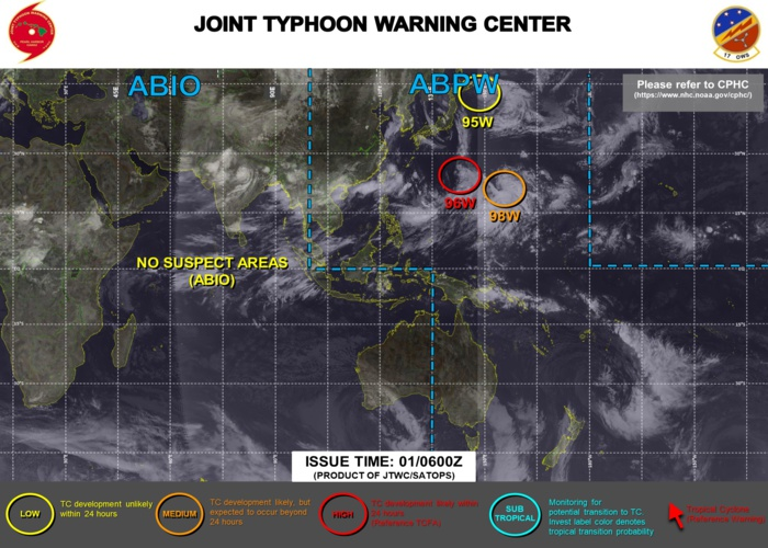 Western Pacific: 3 systems being monitored:Tropical Cyclone Formation Alert for Invest 96W//Eastern Pacific: Hurricane 08E(HILDA) intensifying, 01/06utc updates