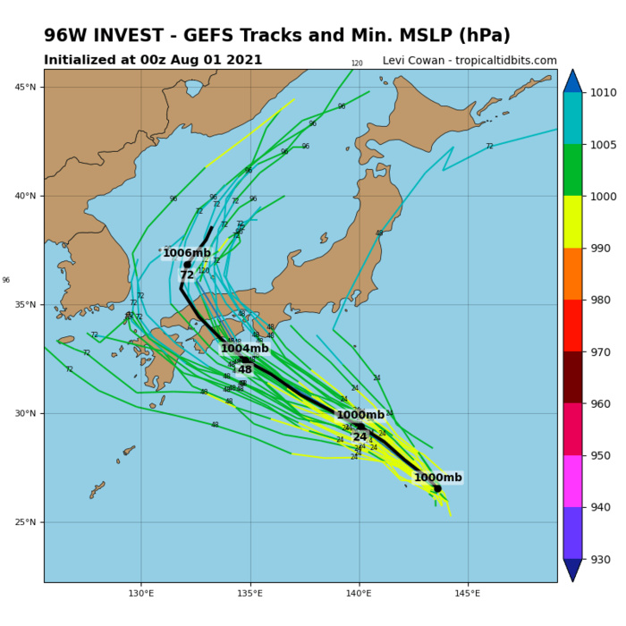 INVEST 96W. GLOBAL MODELS INDICATE MARGINAL  STRENGTHENING AND CONSOLIDATION AS THE SYSTEM PROPAGATES NORTHWEST.
