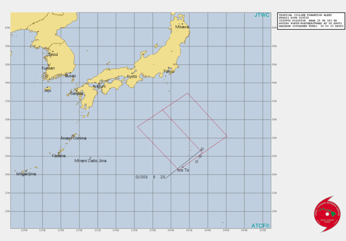 INVEST 96W. TROPICAL CYCLONE FORMATION ALERT ISSUED AT 01/0530UTC.THE AREA OF CONVECTION (INVEST 96W) PREVIOUSLY LOCATED  NEAR 26.8N 143.5E IS NOW LOCATED NEAR 26.8N 143.4E, APPROXIMATELY  295 KM NORTHEAST OF IWO-TO. ANIMATED MULTISPECTRAL SATELLITE IMAGERY  DEPICTS A FULLY EXPOSED LOW-LEVEL CIRCULATION WITH PERSISTENT  DISORGANIZED CONVECTION IN THE SOUTHERN PERIPHERY. THE SYSTEM IS  EMBEDDED WITHIN AN EXTENSIVE SWATH OF CONVERGENT SOUTHERLIES AND  DEEP MOISTURE AS INDICATED IN A 010334UTC AMSR2 89GHZ MICROWAVE IMAGE.  A 010037UTC ASCAT-A IMAGE REVEALS 25-30 KNOT WINDS WRAPPING TO THE EAST  OF THE LLCC AND 10-15 KNOT WINDS TO THE WEST. INVEST 96W IS LOCATED IN  A FAVORABLE ENVIRONMENT CHARACTERIZED BY WARM (29-30C) SEA SURFACE  TEMPERATURES (SST), EQUATORWARD OUTFLOW ALOFT, AND LOW  VERTICAL WIND SHEAR (VWS).