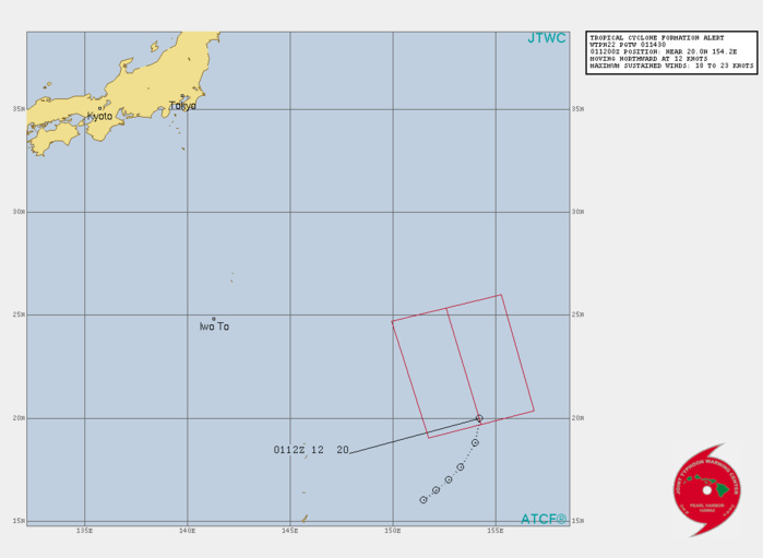 INVEST 98W. TROPICAL CYCLONE FORMATION ALERT ISSUED AT 01/1430UTC. THE AREA OF CONVECTION (INVEST 98W) PREVIOUSLY LOCATED  NEAR 17.5N 153.0E IS NOW LOCATED NEAR 20.0N 154.2E, APPROXIMATELY  1420 KM EAST-SOUTHEAST OF IWO-TO. ANIMATED ENHANCED INFRARED (EIR)  SATELLITE IMAGERY DEPICTS A BROAD AREA OF FLARING CONVECTION  OBSCURING AN ILL-DEFINED LOW LEVEL CIRCULATION (LLC). A 010749UTC  SSMIS 91GHZ MICROWAVE IMAGE REVEALS DEEP CONVECTION CONCENTRATED IN  THE SOUTHERN PERIPHERY. RECENT WATER VAPOR ANALYSIS INDICATES INVEST  98W IS LOCATED DIRECTLY SOUTH OF A TUTT CELL WHICH IS HINDERING  DEVELOPMENT AT THIS TIME. HOWEVER, THE TUTT CELL IS FORECAST TO  SHIFT WEST, THUS INCREASING UPPER LEVEL OUTFLOW AND POTENTIALLY  DEEPENING INVEST 98W. INVEST 98W IS IN A MARGINAL ENVIRONMENT WITH  ROBUST EQUATORWARD OUTFLOW ALOFT AND WARM (29-30 C) SEA SURFACE  TEMPERATURES, OFFSET BY MODERATE TO HIGH (15-25 KTS) VERTICAL WIND  SHEAR AND UPPER LEVEL CONVERGENCE ASSOCIATED WITH THE AFOREMENTIONED  TUTT CELL.