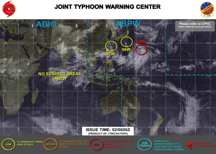 Western Pacific: TCFA still in force for Invest 98W, Invest 97W and 96W under watch too//Eastern Pacific: Hurricane 08E(HILDA) & TD 10E monitored, 02/06utc updates