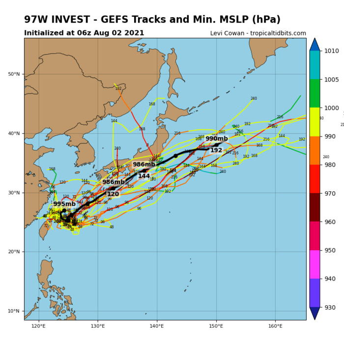 INVEST 97W.THE AREA OF CONVECTION (INVEST 97W) PREVIOUSLY LOCATED  NEAR 27.2N 125.1E IS NOW LOCATED NEAR 27.0N 124.8E, APPROXIMATELY  290 KM WEST-NORTHWEST OF KADENA AB. ANIMATED MSI DEPICTS AN ILL- DEFINED LOW LEVEL CIRCULATION WITH FLARING CONVECTION IN THE SOUTHERN PERIPHERY. A  020758UTC SSMIS 85GHZ MICROWAVE IMAGE REVEALS AN OVERALL LACK OF  CONVECTIVE STRUCTURE ASSOCIATED WITH INVEST 97W. INVEST 97W IS IN A  FAVORABLE ENVIRONMENT FOR DEVELOPMENT CHARACTERIZED BY POLEWARD  OUTFLOW ALOFT, AND WARM (29-30C) SST OFFSET BY LOW TO MODERATE (10- 20 KT) VWS. GLOBAL MODELS GENERALLY AGREE THAT INVEST 97W WILL  REMAIN QUASI-STATIONARY AS IT CONSOLIDATES AND STRENGTHENS. MAXIMUM  SUSTAINED SURFACE WINDS ARE ESTIMATED AT 10 TO 15 KNOTS. MINIMUM SEA  LEVEL PRESSURE IS ESTIMATED TO BE NEAR 996 MB. THE POTENTIAL FOR THE  DEVELOPMENT OF A SIGNIFICANT TROPICAL CYCLONE WITHIN THE NEXT 24  HOURS REMAINS MEDIUM.