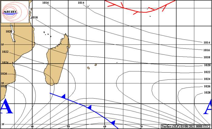 Analyse de la situation de surface ce matin à 04heures. Un système frontal remonte par le Sud-Ouest et touche la RÉUNION la nuit prochaine. Les vents se renforcent sur les faces Ouest et Est de la RÉUNION cet après-midi et la nuit prochaine. Ils se renforcent assez nettement sur MAURICE Mercredi.MTOTEC.