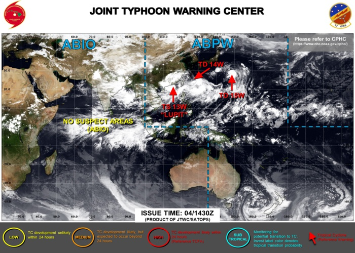 04/15UTC. JTWC ARE ISSUING 6HOURLY WARNINGS AND 3HOURLY SATELLITE BULLETINS ON 13W, 14W AND 15W.