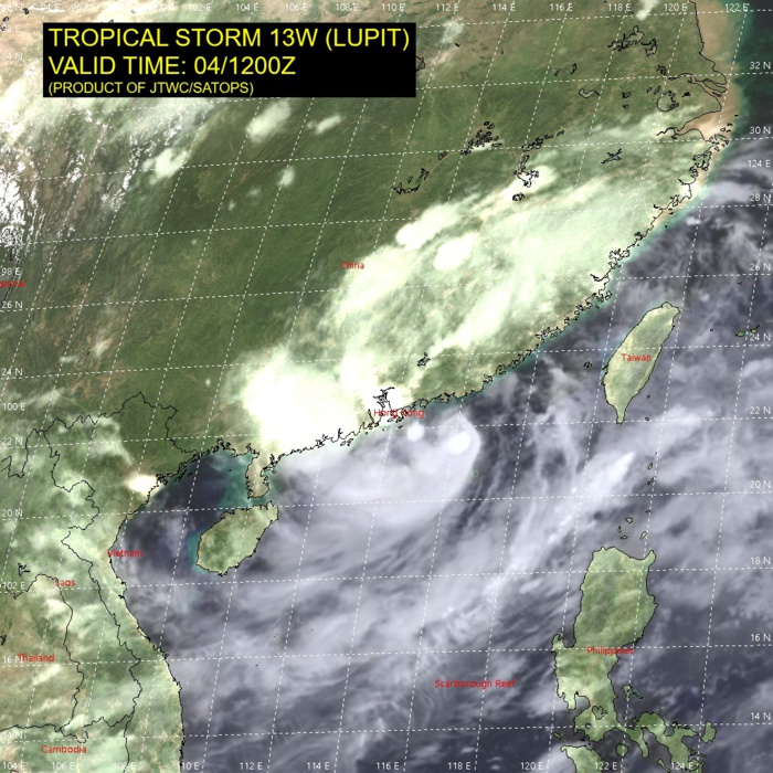 13W(LUPIT).SATELLITE ANALYSIS, INITIAL POSITION AND INTENSITY DISCUSSION: ANIMATED ENHANCED INFRARED (EIR) SATELLITE IMAGERY SHOWS A MIDGET SYSTEM THAT MAINTAINED OVERALL CONVECTIVE SIGNATURE OVER THE LAST SIX HOURS WITH THE MAIN FEEDER BAND WRAPPING IN FROM THE SOUTHWEST. THE INITIAL POSITION IS PLACED WITH HIGH CONFIDENCE BASED ON A  DEFINED LOW LEVEL CIRCULATION FEATURE IN A CMA COMPOSITE RADAR LOOP.  THE INITIAL INTENSITY IS BASED WITH HIGH CONFIDENCE ON OVERALL  ASSESSMENT OF AGENCY DVORAK ESTIMATES AND EXTRAPOLATION FROM A NEARBY SHIP SURFACE WIND AND PRESSURE OBSERVATIONS AND REFLECTS THE SUSTAINED CONVECTIVE SIGNATURE. ANALYSIS INDICATES A MARGINALLY  FAVORABLE ENVIRONMENT WITH MODERATE TO HIGH VERTICAL WIND SHEAR AND PROXIMITY TO  LAND OFFSET BY WARM SST AND MODERATE EQUATORWARD OUTFLOW.