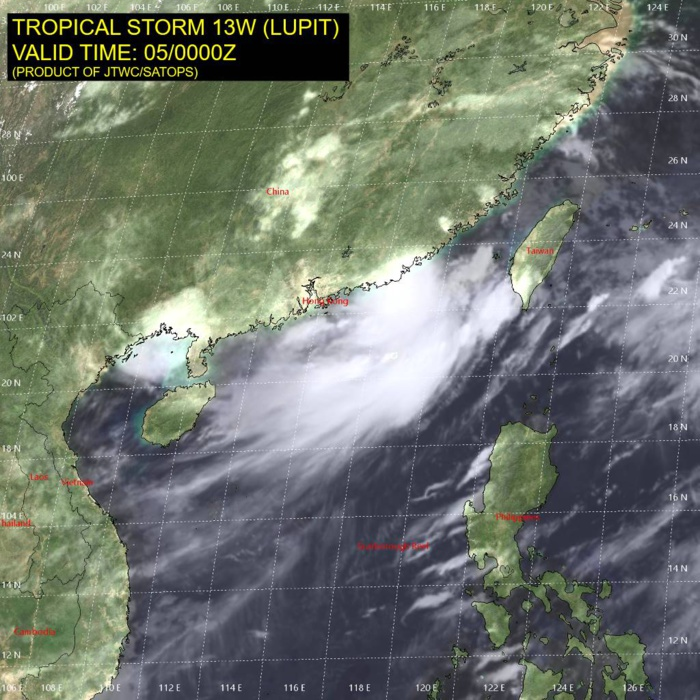 TS 13W(LUPIT).SATELLITE ANALYSIS, INITIAL POSITION AND INTENSITY DISCUSSION: ANIMATED VISIBLE SATELLITE AND RADAR IMAGERY CONTINUES TO SHOW A COMPACT AND WELL-ORGANIZED INNER CORE, SEPARATED FROM THE LARGER SPIRAL BANDS TO THE SOUTHEAST. NORTHEASTERLY VERTICAL SHEAR OF 15-20 KT IS RESULTING IN AN ASYMMETRIC CONVECTIVE STRUCTURE, WITH INNER CORE CONVECTION CONFINED TO THE SOUTHERN SIDE. STRONG EQUATORWARD OUTFLOW IS OBSERVED IN THE SOUTHERN SEMICIRCLE IN ANIMATED WATER VAPOR SATELLITE IMAGERY. A BROAD SWATH OF 30+ KT WINDS EXTENDS TO THE SOUTHEAST OF THE CIRCULATION CENTER, AIDED BY THE BACKGROUND MONSOONAL SOUTHWESTERLY FLOW THAT IS NOW FUNNELING INTO THE TAIWAN STRAIGHT. THE CURRENT INTENSITY IS SET AT 45 KT BASED ON A BLEND OF AGENCY DVORAK ESTIMATES. TROPICAL STORM 13W (LUPIT) IS NOW NEARING THE CHINESE COASTLINE EAST OF SHANTOU, AND IS EXPECTED TO MAKE LANDFALL DURING THE NEXT SEVERAL HOURS.