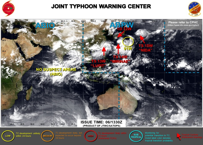 06/15UTC. JTWC ARE ISSUING 6HOURLY WARNINGS ON 13W,14W AND 15W. WARNING 11/FINAL WAS ISSUED AT 06/03UTC ON 12W. 3HOURLY SATELLITE BULLETINS ARE ISSUED FOR THE 4 SYSTEMS.