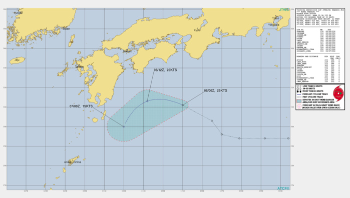 TD 12W. WARNING 11 ISSUED AT 06/03UTC.REMARKS: 060300Z POSITION NEAR 31.1N 134.5E. 06AUG21. TROPICAL DEPRESSION 12W (TWELVE), LOCATED APPROXIMATELY 445 KM SOUTHEAST OF IWAKUNI, JAPAN, HAS TRACKED WEST- NORTHWESTWARD AT 29 KM/H OVER THE PAST SIX HOURS. ANIMATED  MULTISPECTRAL SATELLITE IMAGERY (MSI) DEPICTS A FULLY EXPOSED LOW  LEVEL CIRCULATION CENTER (LLCC). THE INITIAL POSITION IS ASSESSED  WITH HIGH CONFIDENCE BASED ON THE AFOREMENTIONED MSI, AS WELL AS THE  PGTW SATELLITE FIX. TD 12W IS CURRENTLY EXPERIENCING DIRECT CYCLONE  INTERACTION WITH THE STRONGER AND MORE DOMINANT TS 14W, WHICH IS  POSITIONED ABOUT 575KM TO THE SOUTHWEST. AS A RESULT, TD 12W IS  BEING ACCELERATED AROUND 14W'S NORTHERN PERIPHERY WHILE ENCOUNTERING  INCREASING VERTICAL WIND SHEAR (VWS). IN ADDITION, THERE IS DRY AIR  ENTRAINMENT IN THE MID AND UPPER LEVELS THROUGHOUT THE FORECAST  PERIOD. THE AMOUNT OF VWS BEING INTRODUCED BY THE RAPIDLY  APPROACHING TS 14W TO THE SOUTHWEST IS HINDERING ANY FURTHER  DEVELOPMENT.  THIS IS THE FINAL  WARNING ON THIS SYSTEM BY THE JOINT TYPHOON WRNCEN PEARL HARBOR HI.  THE SYSTEM WILL BE CLOSELY MONITORED FOR SIGNS OF REGENERATION.  MAXIMUM SIGNIFICANT WAVE HEIGHT AT 060000Z IS 12 FEET.