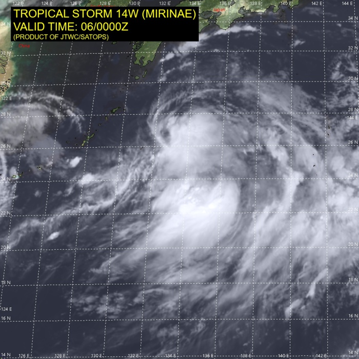 TS 14W(MIRINAE). SATELLITE ANALYSIS, INITIAL POSITION AND INTENSITY DISCUSSION: ANIMATED MULTISPECTRAL SATELLITE IMAGERY (MSI) DEPICTS AN EXPOSED, WELL-DEFINED LOW-LEVEL CIRCULATION (LLC) WITH PERSISTENT DEEP CONVECTION SHEARED TO THE EAST AND SOUTHEAST. THE INITIAL POSITION IS PLACED WITH HIGH CONFIDENCE BASED ON MSI. A 060035UTC ASCAT-B BULLSEYE IMAGE SHOWS A BROAD CIRCULATION WITH A SWATH OF 35 KNOT WINDS OVER THE SOUTHERN SEMICIRCLE, WHICH SUPPORTS THE INITIAL INTENSITY WITH HIGH CONFIDENCE. ALTHOUGH VERTICAL WIND SHEAR IS FAVORABLE, A SHARP UPPER-LEVEL TROUGH LOCATED OVER THE WESTERN PERIPHERY OF THE SYSTEM IS LIMITING DEEP CONVECTION.