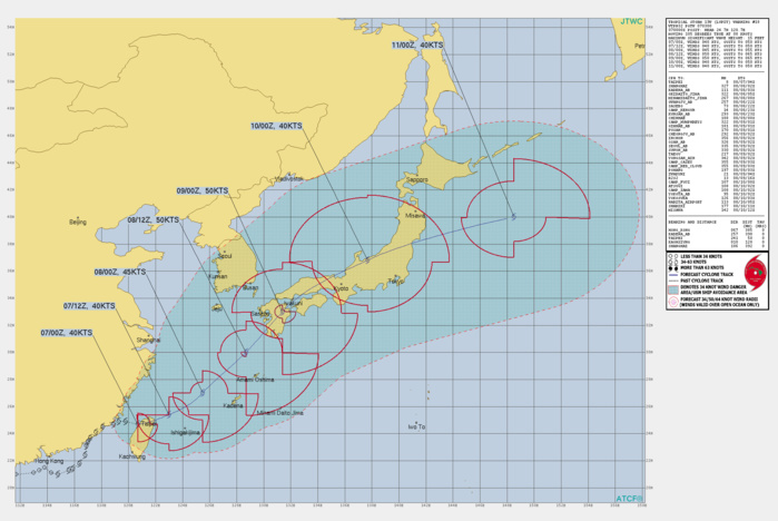 TS 13W(LUPIT). WARNING 18 ISSUED AT 07/03UTC.THERE ARE NO SIGNIFICANT CHANGES TO THE FORECAST FROM THE PREVIOUS WARNING.  FORECAST DISCUSSION: TROPICAL STORM 13W (LUPIT) TOOK A TEMPORARY JOG TOWARD THE SOUTHEAST BUT HAS RESUMED AN EAST-NORTHEASTWARD TRAJECTORY AS IT MAKES LANDFALL OVER NORTHERN TAIWAN. THE SYSTEM IS FORECAST TO HEAVILY INTERACT WITH THE COMPLEX TERRAIN OF TAIWAN OVER THE NEXT 6 TO 12 HOURS, SO THERE IS LOW CONFIDENCE IN THE SHORT-TERM TRACK AND INTENSITY FORECASTS. THE SOUTHWESTERLY MONSOON  FLOW IS SPLIT TO THE WEST AND EAST OF TAIWAN, WITH THE LATTER REGION  CONTINUING TO EXHIBIT SOME EVIDENCE OF LEE SURFACE TROUGH FORMATION  TO THE NORTHEAST OF TAIWAN, WHICH COULD IMPACT THE TRACK AND  REDEVELOPMENT OF THE LLCC ONCE IT EXITS BACK OVER OPEN WATER EAST- NORTHEAST OF TAIPEI. BETWEEN 12H AND 36H, LUPIT IS FORECAST TO  TRACK NORTHEASTWARD TOWARD KYUSHU AND WILL BE LOCATED TO THE  NORTHWEST OF OKINAWA, JAPAN AROUND 24-30H. THE TIMING AND  POSITION OF THE TRACK WILL DEPEND UPON THE REORGANIZATION OF THE  LLCC ONCE THE SYSTEM CROSSES THE LONGITUDE OF THE TAIWAN CENTRAL  MOUNTAIN RANGE. INTENSIFICATION TO A PEAK INTENSITY OF AROUND 50  KNOTS IS EXPECTED PRIOR TO LANDFALL IN KYUSHU. EXTRATROPICAL  TRANSITION SHOULD BEGIN AS LUPIT CROSSES HONSHU, WITH TRANSITION  COMPLETE BY 96H UPON EXITING JAPAN.