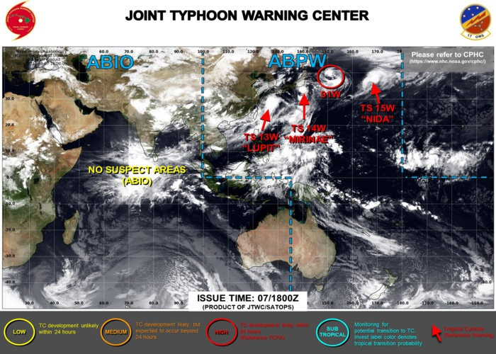 JTWC ARE ISSUING 6HOURLY WARNINGS ON 13W AND 14W. WARNING 12/FINAL WAS ISSUED ON 15W AT 07/09UTC. INVEST 91W WAS UP-GRADED TO HIGH AT 07/17UTC. 3HOURLY SATELLITE BULLETINS ARE ISSUED ON 13W,14W AND 15W.