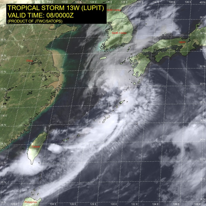 TS 13W(LUPIT). SATELLITE ANALYSIS, INITIAL POSITION AND INTENSITY DISCUSSION: ANIMATED MULTISPECTRAL SATELLITE IMAGERY (MSI) AND JMA RADAR IMAGERY DEPICT A LOW-LEVEL CIRCULATION (LLC) THAT CONTINUES TO BE ELONGATED ALONG A SOUTHWEST TO NORTHEAST AXIS. CONVECTIVE BANDING CONTINUES TO BE HIGHLY ASYMMETRIC, CONFINED MOSTLY TO THE EASTERN SIDE, BUT HAS EXPANDED INTO THE NORTHERN SEMICIRCLE DURING THE PAST SIX HOURS. THE WIND FIELD IS QUITE BROAD, WITH MAXIMUM WINDS LOCATED WITHIN THE PRIMARY CONVECTIVE BAND 185-280 KM SOUTHEAST OF THE CIRCULATION CENTER. SURFACE OBSERVATIONS AT KASARI, JAPAN, MEASURED SUSTAINED WINDS OF 35 KNOTS WITH A MAXIMUM GUST OF 50 KNOTS AT 072340UTC ON THE EASTERN SIDE OF THE CIRCULATION. THE CURRENT INTENSITY OF TROPICAL STORM 13W (LUPIT) IS ESTIMATED AT 40 KNOTS BASED ON A BLEND OF SURFACE OBSERVATIONS AND THE PGTW DVORAK ESTIMATE OF T3.0 (45 KNOTS).