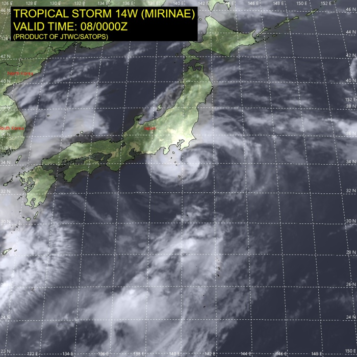 TS 14W(MIRINAE). SATELLITE ANALYSIS, INITIAL POSITION AND INTENSITY DISCUSSION: ANIMATED MULTISPECTRAL SATELLITE IMAGERY (MSI) AND JMA RADAR IMAGERY DEPICT A WELL-ORGANIZED LOW-LEVEL CIRCULATION (LLC), WITH A STRONG PRIMARY CONVECTIVE BAND WRAPPING AROUND THE NORTH AND WEST SIDE, SPIRALING INTO THE CIRCULATION CENTER WHERE DISTINCT BANDING HAS HAD THE APPEARANCE OF A PARTIAL EYEWALL AT TIMES OVER THE PAST SIX HOURS. DRY AIR IS NOW WRAPPING AROUND THE SOUTHERN SEMICIRCLE INTO THE EASTERN SEMICIRCLE, ERODING SOME OF THE CORE CONVECTION ON THAT SIDE. THIS APPEARS TO BE THE PRIMARY ENVIRONMENTAL LIMITATION AT THE MOMENT. TROPICAL STORM 14W (MIRINAE) HAS RESUMED ITS EXPECTED NORTHEASTWARD MOTION AFTER TAKING A NORTHWARD JOG FOR SEVERAL HOURS PRIOR TO 071800UTC. THE CENTER PASSED CLOSE TO HACHIJOJIMA ISLAND, WHERE THE PRESSURE FELL TO 981MB AT 071900UTC. A SUSTAINED TROPICAL STORM FORCE WIND OF 41 KNOTS WITH A MAXIMUM GUST OF 58 KNOTS WAS OBSERVED AT MIYAKE-TSUBOTA AT 072143UTC. THE CURRENT INTENSITY OF MIRINAE IS ESTIMATED TO BE 45 KNOTS.