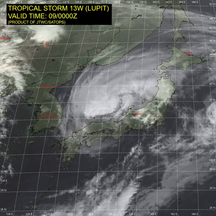 TS 13W(LUPIT). SATELLITE ANALYSIS, INITIAL POSITION AND INTENSITY DISCUSSION: ANIMATED MULTI-SPECTRAL SATELLITE IMAGERY (MSI) DEPICTS A PARTIALLY EXPOSED LOW LEVEL CIRCULATION CENTER (LLCC) WITH CONVECTION OFFSET OVER THE SEA OF JAPAN. THE INITIAL POSITION IS PLACED WITH MEDIUM CONFIDENCE BASED ON RADAR AND A 082207UTC SSMIS 91 GHZ MICROWAVE IMAGE. THE INITIAL INTENSITY OF 55 KNOTS IS ASSESSED WITH MEDIUM CONFIDENCE BASED ON THE LOWEST LOCAL PRESSURE OF 983MB, A 53KNOTS OBSERVATION IN IZUMO, JAPAN AND A 082355UTC METOP-A ASCAT PASS.