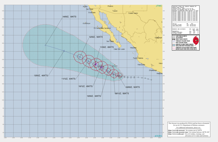 EASTERN PACIFIC. TS 11E(KEVIN). WARNING 7 ISSUED AT 09/04UTC. INTENSITY IS FORECAST TO PEAK AT 65KNOTS/CAT 1 BY 36H.