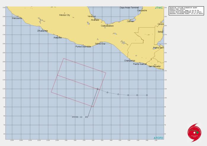INVEST 93E. TROPICAL CYCLONE FORMATION ALERT ISSUED AT 08/17UTC.FORMATION OF A SIGNIFICANT TROPICAL CYCLONE IS POSSIBLE WITHIN 120 NM EITHER SIDE OF A LINE FROM 10.9N 95.2W TO 12.9N 101.4W WITHIN THE NEXT 12 TO 24 HOURS. AVAILABLE DATA DOES NOT JUSTIFY ISSUANCE OF NUMBERED TROPICAL CYCLONE WARNINGS AT THIS TIME. WINDS IN THE AREA ARE ESTIMATED TO BE 15 TO 20 KNOTS. METSAT IMAGERY AT 090000Z INDICATES THAT A CIRCULATION CENTER IS LOCATED NEAR 11.0N 95.5W. THE SYSTEM IS MOVING WEST-NORTHWESTWARD AT 21 KM/H. 2. REMARKS: AN AREA OF CONVECTION (INVEST 93E) HAS PERSISTED NEAR  11.0N 95.5W, APPROXIMATELY 555 KM SOUTH SOUTHEAST OF PUNTA  ESCONDIDA, MEXICO. ANIMATED MULTISPECTRAL SATELLITE IMAGERY (MSI)  DEPICTS AN AREA OF FLARING CONVECTION AND BROAD TURNING AROUND AN  ILL-DEFINED LOW LEVEL CIRCULATION (LLC). A 082257UTC SSMIS 91GHZ  SATELLITE IMAGE REVEALS AREAS OF DEEP CONVECTION WITHOUT A CLEAR  LLC. ANALYSES INDICATE AN OVERALL FAVORABLE ENVIRONMENT FOR  DEVELOPMENT CHARACTERIZED BY EQUATORWARD OUTFLOW ALOFT, LOW TO  MODERATE (10-20 KT) VERTICAL WIND SHEAR (VWS), AND WARM (29-30C) SEA  SURFACE TEMPERATURES.MAXIMUM SUSTAINED SURFACE WINDS ARE ESTIMATED AT 15 TO 20 KNOTS.  MINIMUM SEA LEVEL PRESSURE IS ESTIMATED TO BE NEAR 1007 MB. THE  POTENTIAL FOR THE DEVELOPMENT OF A SIGNIFICANT TROPICAL CYCLONE  WITHIN THE NEXT 24 HOURS IS HIGH.