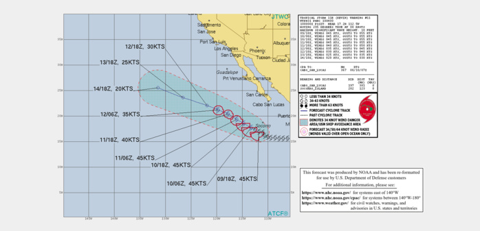 EASTERN PACIFIC. TS 11E(KEVIN). WARNING 11 ISSUED AT 10/04UTC. INTENSITY IS NO LONGER FORECAST TO REACH HURRICANE LEVEL.