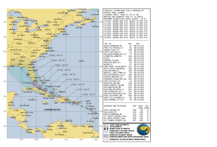 ATLANTIC. TS 06L(FRED). WARNING 7 ISSUED AT 11/09UTC.