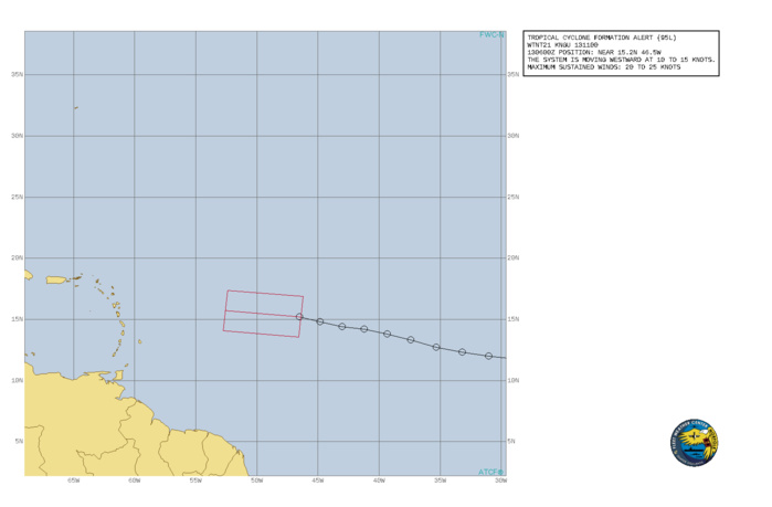 INVEST 95L. TROPICAL CYCLONE FORMATION ALERT ISSUED AT 13/11UTC.FORMATION OF A SIGNIFICANT TROPICAL CYCLONE IS POSSIBLE WITHIN 100 NM EITHER SIDE OF A LINE FROM 15.2N 46.5W TO 15.7N 52.6W WITHIN THE NEXT 24 HOURS. AVAILABLE DATA DOES NOT JUSTIFY ISSUANCE OF NUMBERED TROPICAL CYCLONE WARNINGS AT THIS TIME. WINDS IN THE AREA ARE ESTIMATED TO BE 20 TO 25 KNOTS. METSAT IMAGERY AT 130600UTC INDICATES THAT A CIRCULATION CENTER IS LOCATED NEAR 15.2N 46.5W. 2. SHOWERS AND THUNDERSTORMS HAVE BECOME MORE CONCETRATED DURING THE PAST FEW HOURS NEAR THE SURFACE CENTER OF A SMALL LOW PRESSURE SYSTEM LOCATED ABOUT 900 MILES EAST OF THE LESSER ANTILLES. ENVIRONMENTAL CONDITIONS ARE MARGINALLY CONDUCIVE FOR FURTHER DEVELOPMENT, AND A TROPICAL DEPRESSION IS LIKELY TO FORM TODAY WHILE THE SYSTEM MOVES WESTWARD AT 10-15 KNOTS. THE DISTURBANCE IS FORECAST TO APPROACH THE NORTHERN LESSER ANTILLES BY SATURDAY NIGHT.