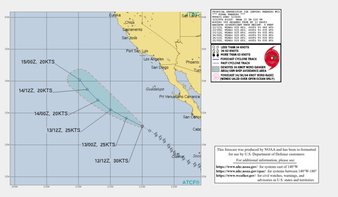 TD 11E(KEVIN). WARNING 21/FINAL ISSUED AT 12/16UTC.