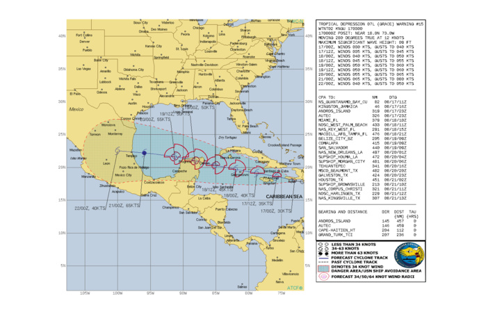 TD 07L(GRACE). WARNING 15 ISSUED AT 17/03UTC. CURRENT INTENSITY IS 30KNOTS BUT IS FORECAST TO INCREASE TO 65KNOTS/CAT 1 BY 21/00UTC.