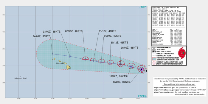 HU 12E(LINDA). WARNING 36 ISSUED AT 19/04UTC. CURRENT INTENSITY IS 80KNOTS/CAT 1 AND IS FORECAST TO FALL BELOW 65KNOTS BY 18/24H.