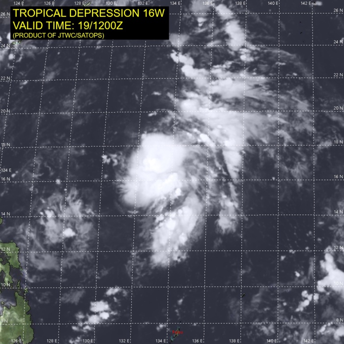 TD 16W. SATELLITE ANALYSIS, INITIAL POSITION AND INTENSITY DISCUSSION: TD 16W (SIXTEEN) HAS REGENERATED AS A TROPICAL DEPRESSION IN THE PHILIPPINE SEA. ANIMATED ENHANCED INFRARED (EIR) SATELLITE IMAGERY SHOWS THAT DEEP CONVECTION BEGAN DEVELOPING ONCE MORE OVER THE LOW LEVEL CIRCULATION CENTER (LLCC) AT APPROXIMATELY 190600UTC, AND HAS PERSISTED THROUGH THE 191200UTC HOUR. CLOUD TOP TEMPS HAVE COOLED SIGNIFICANTLY, AND HIGH RESOLUTION IMAGERY DEPICTS THE DEVELOPMENT OF SOME OVERSHOOTING TOPS, INDICATING THE SYSTEM IS UNDERGOING INTENSIFICATION. WHILE THE CONVECTION SIGNATURE IS VERY SYMMETRICAL, THE OVERALL SURFACE WIND FIELD IS HIGHLY ASYMMETRICAL, AS CONFIRMED BY A PARTIAL 191218UTC ASCAT-B PASS, WHICH SHOWED 15-20 KNOT WINDS ON THE NORTH-NORTHWEST SIDE OF THE SYSTEM. EARLIER SCATTEROMETER DATA SHOWED 25-30 KNOT WINDS CONFINED TO AN AREA EXTENDING FROM THE NORTHEAST-SOUTH OF THE LLCC. THE INITIAL POSITION IS ASSESSED WITH LOW CONFIDENCE DUE TO AN OBSCURED LLCC AND THE LACK OF RECENT MICROWAVE IMAGERY AND SCATTEROMETER DATA. THE INITIAL INTENSITY IS HEDGED SLIGHTLY HIGHER THAN THE MULTI-AGENCY INTENSITY ESTIMATES OF T1.0 IN LIGHT OF THE IMPROVED STRUCTURE AND CONVECTIVE DEVELOPMENT. EARLIER IN THE DAY, MODERATE TO STRONG WESTERLY SHEAR WAS INHIBITING THE DEVELOPMENT OF THE CONVECTIVE CORE, HOWEVER OVER THE PAST 12 HOURS THE UPPER-LEVEL PATTERN HAS MODIFIED, WITH A ANTICYCLONE DEVELOPING OVER TOP OF TD 16W, LEADING TO MUCH LOWER SHEAR AND WEAK RADIAL OUTFLOW, WITH THE REMNANTS OF A WEAK TUTT CELL TO THE NORTH PROVIDING A VERY WEAK TAP INTO SOME POLEWARD OUTFLOW AS WELL. A DEEP, SHARP, MID-LATITUDE TROUGH EXTENDS SOUTHWARD FROM THE KOREAN PENINSULA, ALONG THE RYUKU CHAIN, TO THE LUZON STRAIT.