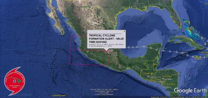 ATLANTIC/EASTERN PACIFIC: REMNANTS OF HU 07L(GRACE). TROPICAL CYCLONE FORMATION ALERT ISSUED AT 22/01UTC.
