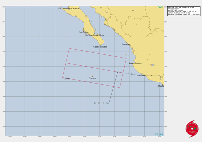 EASTERN PACIFIC. INVEST 94E. TROPICAL CYCLONE FORMATION ALERT ISSUED AT 23/01UTC.FORMATION OF A SIGNIFICANT TROPICAL CYCLONE IS POSSIBLE WITHIN 220 KM EITHER SIDE OF A LINE FROM 19.2N 106.9W TO 20.5N 114.5W WITHIN THE NEXT 12 TO 24 HOURS. AVAILABLE DATA DOES NOT JUSTIFY ISSUANCE OF NUMBERED TROPICAL CYCLONE WARNINGS AT THIS TIME. WINDS IN THE AREA ARE ESTIMATED TO BE 25 TO 30 KNOTS. METSAT IMAGERY AT 221800UTC INDICATES THAT A CIRCULATION CENTER IS LOCATED NEAR 19.3N 107.6W. THE SYSTEM IS MOVING WESTWARD AT 31 KM/H. 2. REMARKS: THE AREA OF CONVECTION (INVEST 94E, PREVIOUSLY REMNANTS  OF HURRICANE 07L) PREVIOUSLY LOCATED NEAR 19.7N 99.5W IS NOW LOCATED  NEAR 19.3N 107.6W, APPROXIMATELY 360 KM EAST OF SOCORRO ISLAND.  ANIMATED MULTISPECTRAL SATELLITE IMAGERY (MSI) DEPICTS A PARTIALLY  OBSCURED LOW-LEVEL CIRCULATION CENTER (LLCC) WITH CONVECTION  CONSOLIDATING OVER THE CENTER. INVEST 94E IS IN A FAVORABLE  ENVIRONMENT FOR DEVELOPMENT CHARACTERIZED BY WARM (29-30C) SEA  SURFACE TEMPERATURES (SST), POLEWARD OUTFLOW ALOFT, AND LOW VERTICAL WIND SHEAR (VWS). MAXIMUM SUSTAINED  SURFACE WINDS ARE ESTIMATED AT 25 TO 30 KNOTS. MINIMUM SEA LEVEL  PRESSURE IS ESTIMATED TO BE NEAR 1000 MB. THE POTENTIAL FOR THE  DEVELOPMENT OF A SIGNIFICANT TROPICAL CYCLONE WITHIN THE NEXT 24  HOURS IS HIGH.