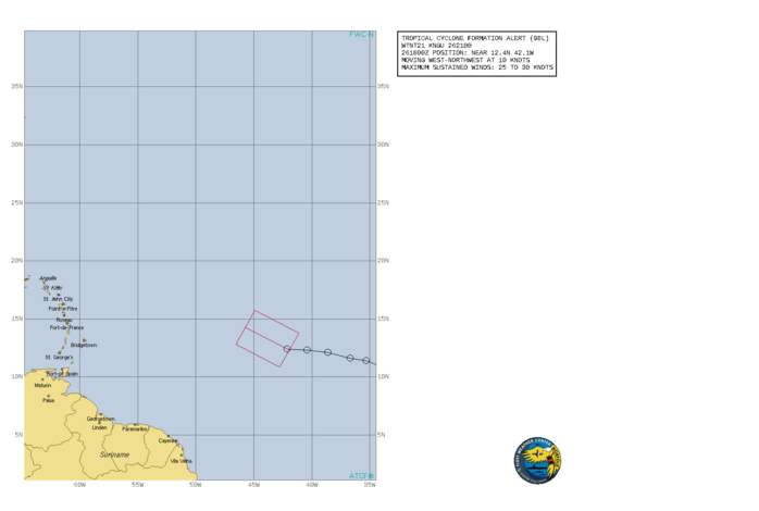 INVEST 98L. TROPICAL CYCLONE FORMATION ALERT ISSUED AT 26/21UTC.FORMATION OF A SIGNIFICANT TROPICAL CYCLONE IS POSSIBLE WITHIN 100 NM EITHER SIDE OF A LINE FROM 12.4N 42.1W TO 14.3N 45.7W WITHIN THE NEXT 24 HOURS. AVAILABLE DATA DOES NOT JUSTIFY ISSUANCE OF NUMBERED TROPICAL CYCLONE WARNINGS AT THIS TIME. WINDS IN THE AREA ARE ESTIMATED TO BE 25 TO 30 KNOTS. METSAT IMAGERY AT 261800Z INDICATES THAT A CIRCULATION CENTER IS LOCATED NEAR 12.4N 42.1W. THE SYSTEM IS MOVING WEST-NORTHWEST AT 8-12 KNOTS. 2. REMARKS: A VIGOROUS TROPICAL WAVE, SITUATED ABOUT MIDWAY BETWEEN THE CABO VERDE ISLANDS AND THE WINDWARD ISLANDS IS PRODUCING A LARGE AREA OF SHOWERS AND THUNDERSTORMS. UPPER LEVEL WINDS ARE FORECAST TO BE FAVORABLE FOR ADDITIONAL CONVECTIVE DEVELOPMENT AND A TROPICAL DEPRESSION IS LIKELY TO FORM DURING THE NEXT 24 HOURS. THE SYSTEM IS EXPECTED TO MOVE WEST-NORTHWEST AND THEN NORTHWEST AT 8-12 KTS DURING THE NEXT SEVERAL DAYS.