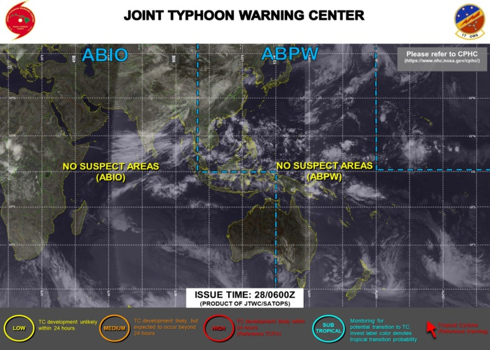 WESTERN PACIFIC, INDIAN OCEAN AND SOUTHERN HEMISPHERE: NO SUSPECT AREAS.
