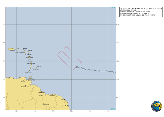 INVEST 98L. TROPICAL CYCLONE FORMATION ALERT.FORMATION OF A SIGNIFICANT TROPICAL CYCLONE IS POSSIBLE  WITHIN100 NM EITHER SIDE OF A LINE FROM 13.4N 48.5W TO 17.9N 52.7W WITHIN THE NEXT 24 HOURS. AVAILABLE DATA DOES NOT JUSTIFY ISSUANCE OF NUMBERED TROPICAL CYCLONE WARNINGS AT THIS TIME. WINDS IN THE AREA ARE ESTIMATED TO BE 20 TO 25 KNOTS. METSAT IMAGERY, SYNOPTIC DATA AND RADAR DATA AT 271800Z INDICATE THAT A CIRCULATION CENTER IS LOCATED NEAR 13.4N 48.5W. THE SYSTEM IS MOVING NORTHWESTWARD AT 15 KNOTS. 2. SHOWERS AND THUNDERSTORMS ASSOCIATED WITH A TROPICAL WAVE LOCATED ABOUT MIDWAY BETWEEN THE CABO VERDE ISLANDS AND THE LESSER ANTILLES HAVE BECOME A LITTLE BETTER ORGANIZED TODAY. ADDITIONAL DEVELOPMENT  OF THIS SYSTEM IS EXPECTED, AND A TROPICAL DEPRESSION IS LIKELY TO FORM LATER TONIGHT OR SATURDAY BEFORE IT MOVES INTO AN ENVIRONMENT  OF STRONGER UPPER-LEVEL WINDS AND SLIGHTLY COOLER WATERS. THE DISTURBANCE IS FORECAST TO MOVE WEST-NORTHWESTWARD THROUGH TONIGHT, THEN TURN NORTHWARD SATURDAY.