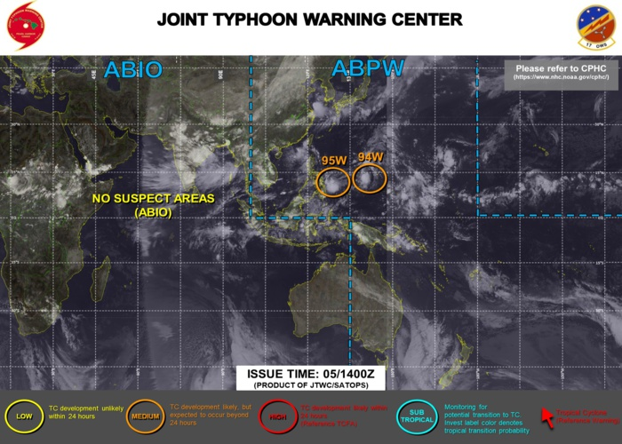 INVEST 94W AND INVEST 95W WERE UP-GRADED TO MEDIUM AT 05/14UTC.