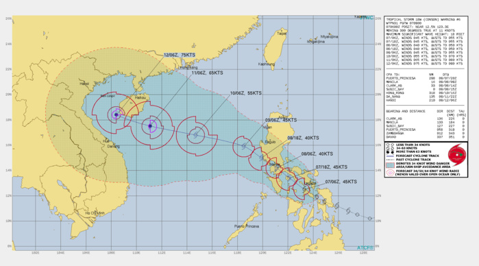 TS 18W(CONSON). WARNING 6 ISSUED AT 07/09UTC.SIGNIFICANT FORECAST CHANGES: THERE ARE NO SIGNIFICANT CHANGES TO THE FORECAST FROM THE PREVIOUS WARNING.  FORECAST DISCUSSION: TS 18W IS FORECAST TO CONTINUE TRACKING NORTHWESTWARD, GENERALLY TOWARDS THE MANILA METRO AREA, OVER THE NEXT 24 HOURS AND EMERGE INTO THE SOUTH CHINA SEA ONCE MORE NEAR 36H, MOVING ALONG THE WESTERN PERIPHERY OF THE NEAR EQUATORIAL RIDGE(NER) CENTERED TO THE EAST AND THE SOUTHERN PERIPHERY OF THE SUBTROPICAL RIDGE(STR)TO THE NORTH. AFTER EMERGING INTO THE SOUTH CHINA SEA, THE TRACK OF 18W IS FORECAST TO FLATTEN OUT, BECOMING MORE WEST-NORTHWESTWARD AS THE STR TO THE NORTH BECOMES THE DOMINATE STEERING MECHANISM. AS THE SYSTEM TRACKS OVER THE SIBUYAN SEA IT IS LIKELY TO MAINTAIN ITS CURRENT INTENSITY, AND COULD POTENTIALLY SEE SHORT-TERM INTENSIFICATION WHILE OVER THE WARM WATERS, BEFORE MAKING ANOTHER LANDFALL ON THE SOUTHERN COAST OF LUZON SOUTHEAST OF MANILA. THE RUGGED TERRAIN WILL SERVE TO WEAKEN TS 18W TO 40 KNOTS BEFORE REEMERGING OVER OPEN WATERS NEAR 36H. ENVIRONMENTAL CONDITIONS OF LOW (10-15 KTS) VERTICAL WIND SHEAR, MODERATE WESTWARD OUTFLOW AND WARM (29C) SSTS, ARE EXPECTED TO REMAIN FAVORABLE AND SUPPORT SLOW BUT STEADY INTENSIFICATION AFTER 48H, REACHING A PEAK OF 75 KNOTS/CAT 1 BY 120H.