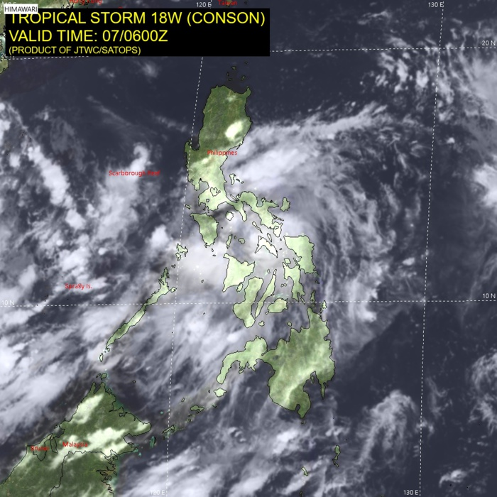 TS 18W(CONSON). SATELLITE ANALYSIS, INITIAL POSITION AND INTENSITY DISCUSSION: TROPICAL STORM 18W CONTINUES TO WEAKEN AS IT HAS TRACKED ACROSS MASBATE ISLAND OVER THE PREVIOUS SIX HOURS. ANIMATED MULTISPECTRAL SATELLITE IMAGERY (MSI) STILL INDICATES THAT THE OVERALL ROTATION ASSOCIATED WITH TS CONSON REMAINS INTACT, BUT STRUCTURALLY IT HAS BECOME SOMEWHAT RAGGED. A 070527Z AMSR2 89GHZ MICROWAVE IMAGE REVEALS WEAK SPIRAL BANDS WRAPPING INTO A RAGGED AND BROAD LOW EMISSIVITY REGION. THE INITIAL POSITION IS ASSESSED WITH HIGH CONFIDENCE BASED ON THE AMSR2 IMAGE AND SUPPORTED BY ANIMATED RADAR DATA FROM THE PHILIPPINES RADAR NETWORK. SURFACE OBSERVATIONS FROM MASBATE CITY INDICATE SOUTHEASTERLY WINDS WITH GUSTS UP TO NEAR 40 KNOTS AND SEA LEVEL PRESSURES NEAR 997MB. THE INITIAL INTENSITY OF 45 KNOTS IS BASED ON A PGTW DATA-T OF T3.0 (45 KTS) AND AN RJTD CI OF T3.0, WITH SUPPORT FROM THE SURFACE OBSERVATION FROM MASBATE CITY. ANIMATED WATER VAPOR IMAGERY SHOWS THE SYSTEM HAS GOOD RADIAL OUTFLOW WITH WEAK POLEWARD FLOW INTO A TUTT CELL POSITIONED TO THE NORTHEAST.