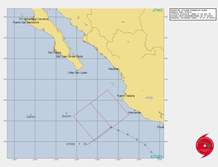 EASTERN PACIFIC. INVEST 96E. TROPICAL CYCLONE FORMATION ALERT ISSUED AT 07/06UTC. FORMATION OF A SIGNIFICANT TROPICAL CYCLONE IS POSSIBLE WITHIN 220 KM EITHER SIDE OF A LINE FROM 17.4N 106.6W TO 19.7N 108.7W WITHIN THE NEXT 12 TO 24 HOURS. AVAILABLE DATA DOES NOT JUSTIFY ISSUANCE OF NUMBERED TROPICAL CYCLONE WARNINGS AT THIS TIME. WINDS IN THE AREA ARE ESTIMATED TO BE 20 TO 25 KNOTS. METSAT IMAGERY AT 070000Z INDICATES THAT A CIRCULATION CENTER IS LOCATED NEAR 17.4N 106.7W. THE SYSTEM IS MOVING WEST-NORTHWESTWARD AT 13 KM/H. 2. REMARKS:REMARKS: THE AREA OF CONVECTION (INVEST 96E) PREVIOUSLY  LOCATED NEAR 16.2N 104.4W IS NOW LOCATED NEAR 17.4N 106.7W,  APPROXIMATELY 295 KM SOUTHWEST OF MANZANILLO, MEXICO. ANIMATED  ENHANCED INFRARED (EIR) SATELLITE IMAGERY AND A 0111Z SSMIS 91GHZ  IMAGE DEPICT A SMALL POCKET OF CONVECTION TO THE EAST OF A BROAD LOW  LEVEL CIRCULATION (LLC). INVEST 96E IS IN A FAVORABLE ENVIRONMENT  FOR DEVELOPMENT CHARACTERIZED BY STRONG OUTFLOW ALOFT, LOW  VERTICAL WIND SHEAR (VWS), AND WARM (28-29C) SEA SURFACE  TEMPERATURES (SST).MAXIMUM SUSTAINED SURFACE  WINDS ARE ESTIMATED AT 20 TO 25 KNOTS. MINIMUM SEA LEVEL PRESSURE IS  ESTIMATED TO BE NEAR 1004 MB. THE POTENTIAL FOR THE DEVELOPMENT OF A  SIGNIFICANT TROPICAL CYCLONE WITHIN THE NEXT 24 HOURS REMAINS HIGH.