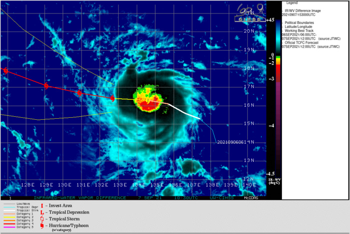 TY 19W(CHANTHU). THE TYPHOON HAS BEEN INTENSIFYING VERY RAPIDLY FOR THE PAST 6HOURS. THE ESTIMATED INTENSITY WAS 85KNOTS/CAT 2 AT 07/12UTC AND IS NOW AT 125KNOTS/CAT 4 AT 07/18UTC.