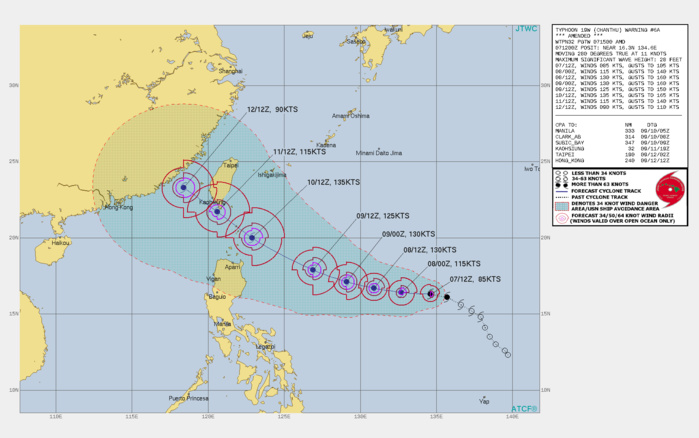 TY 19W(CHANTHU). WARNING 6 WAS ISSUED AND AMENDED AT 07/15UTC. AT 12UTC THE INITIAL ESTIMATE WAS 70KNOTS AND WAS RAISED TO 85KNOTS WITH THE AMENDED WARNING. THE FORECAST WAS CALLING FOR 115KNOTS AT 08/00UTC. THE ACTUAL RATE OF INTENSIFICATION HAS EXCEEDED THE FORECAST.