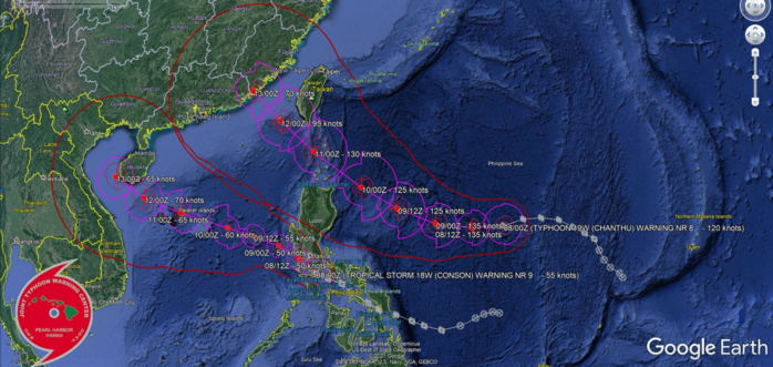Western Pacific: 18W(CONSON) tracking over Southern Luzon,19W(CHANTHU) forecast to reach Super Typhoon intensity within 24hours,15E & 12L(LARRY) updates,08/03utc