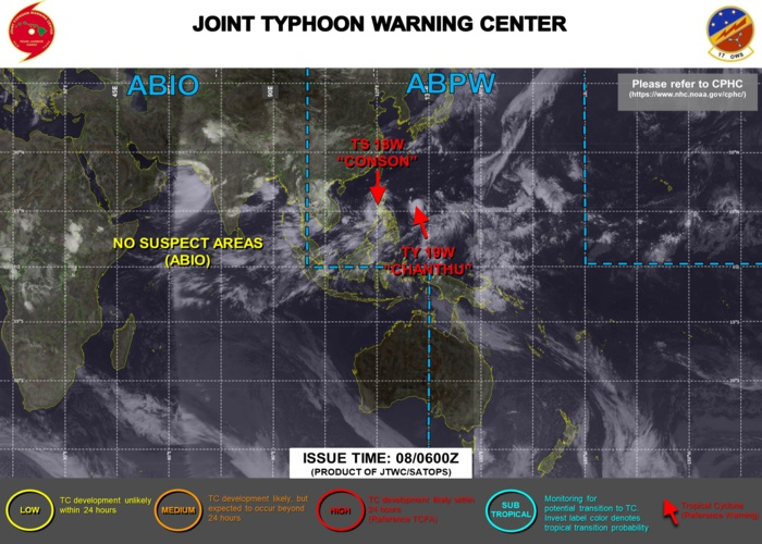 JTWC ARE ISSUING 6HOURLY WARNINGS AND 3HOURLY SATELLITE BULLETINS ON 18W AND 19W.